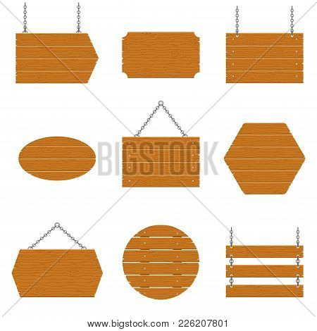 Wooden Signboards And Wood Plank Set Isolated On White Background. Signs And Symbols To Communicate