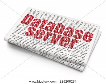 Programming Concept: Pixelated Red Text Database Server On Newspaper Background, 3d Rendering