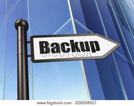 Programming Concept: Sign Backup On Building Background, 3d Rendering
