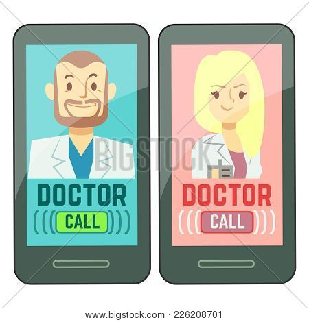 Flat Mobile Doctor, Personalized Medicine Male And Female Consultant On Smartphone. Vector Consultat