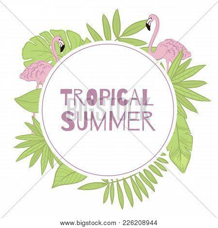 Frame Vector Tropical Summer. Green Leaves, Flamingo.