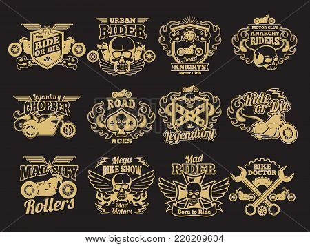 Motorbike Club Vintage Vector Patches On Black. Motorcycle Racing Labels And Emblems. Illustration O