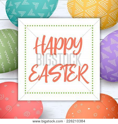 Happy easter festive vector photo free trial bigstock festive easter eggs in circle on shabby wooden background colorful eggs with rustic ornaments vector illustration postcard template invitation stopboris Gallery