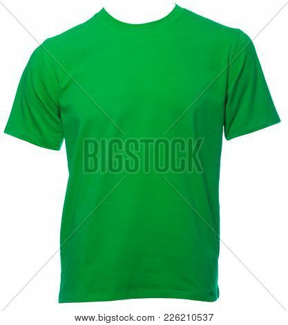 Green plain shortsleeve cotton T-Shirt on a mannequin isolated on a white background