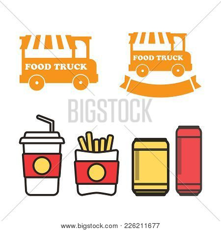 Fast Food Snacks And Drinks Flat Vector Icons. Fastfood Icons. S