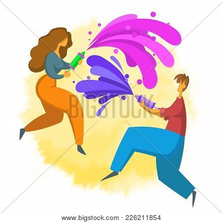 Poster For The Festival Of Colors Holi In Flat Style. Happy Boy And Girl Throw Paint. Vector Illustr