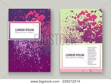 Neon Explosion Paint Splatter Artistic Cover Design. Fluid Violet Gradient Dust Splash Texture Backg