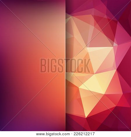 Background Made Of Red, Brown, Yellow, Orange Triangles. Square Composition With Geometric Shapes An