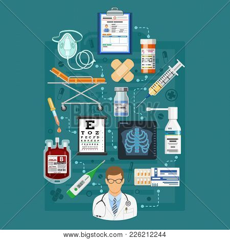 Medical Services Infographics With Flat Icons Like Eyesight, Medical Card Patient, X-ray. Isolated V