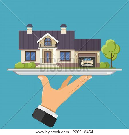Hand Holds New House On Tray. Flat Style Icons. Sale, Purchase, Lease, Rent Home Of Real Estate Conc