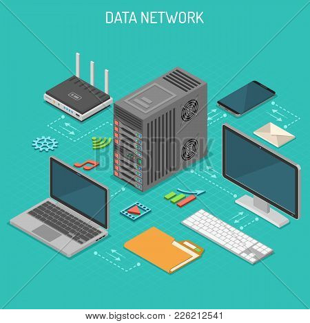 Data Network Isometric Business Concept With Network Server, Computer, Laptop, Router And Multimedia
