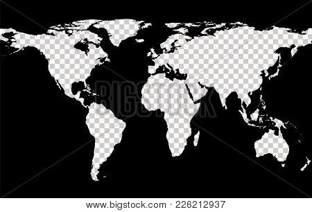 Worldwide Map With Imitation Of Transparent Continents On Black Background