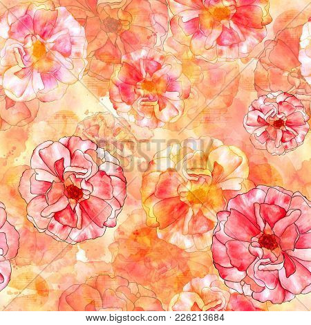 A Seamless Pattern With Watercolour Drawings Of Blooming Pink And Golden Yellow Roses In Art Nouveau