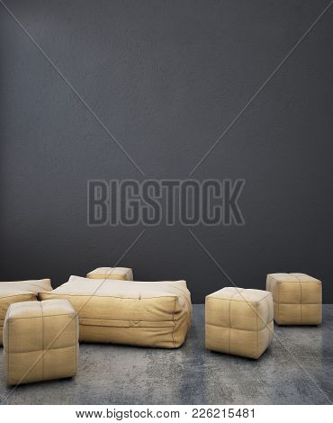 Brown Bean Bag Stools With Gray Background & Concrete Floor Interior.3d Illustrator