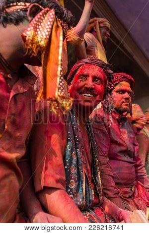 Nandgaon, India - March 18, 2016: Kids celebrate Holi in Nandgaon, Uttar Pradesh, India.