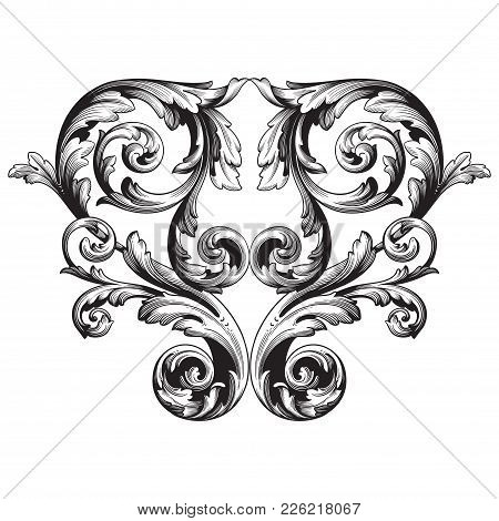 Vintage Baroque Frame Scroll Ornament Engraving Border Floral Retro Pattern Antique Style Acanthus F