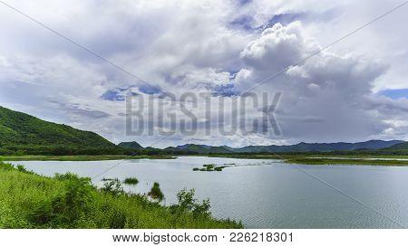 Huai Mai Tai Reservoir In A Beautiful Day ,  Phetchaburi  , Thailand