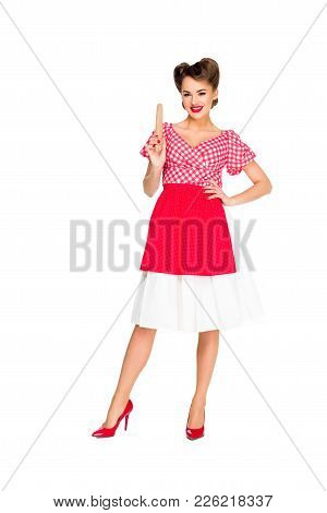 Smiling Stylish Woman In Retro Clothing With Rolling Pin Isolated On White