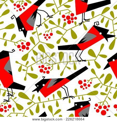 Bullfinch Seamless Pattern In Flat Simple Style. Doodle Floral Botany Background With Rowan Branches