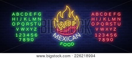 Mexican Hot Food Logo In Neon Style. Neon Sign, Design Template For Mexican Restaurant, Cafe, Bar. B