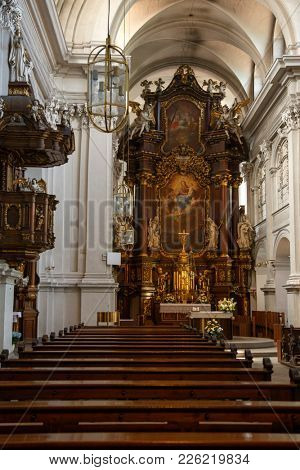 BAMBERG, GERMANY - JUNE 7, 2017: Visiting the St. Maria and St. Theodor church in Bamberg, Germany on June 7, 2017.