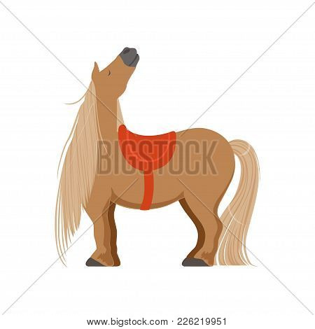 Cute Pony With Saddle, Thoroughbred Horse Vector Illustration Isolated On A White Background