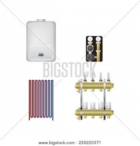 Hvac Equipment Vector Illustration. Boiler, Floor Heating, Pumping Group, Comb.