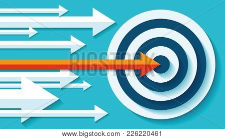Volume Target Icon In Flat Style On Color Background. Orange Arrow In The Center Aim. Vector Design