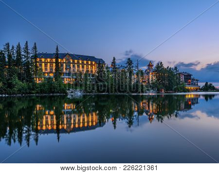 Sunset Over Glacial Mountain Lake Strbske Pleso In National Park High Tatra, Slovakia. Long Exposure