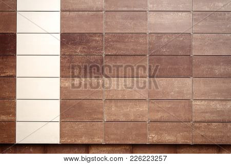 Detail Brown And Beige Tile Wall Texture Background