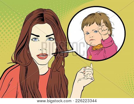 Demanding Girl. A Young Woman Looking Questioningly. Woman And Child. Girl And Strict Child. Surpris
