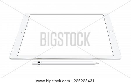 White Tablet With Pencil Perspective View Isolated. Showcase Your Mobile Web-site Design Screenshots
