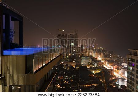 The skyline of the city  Colombo at night