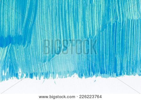 Abstract Brushed Cyan Hand Painted Acrylic Background, Creative Abstract Hand Painted Background, Cl
