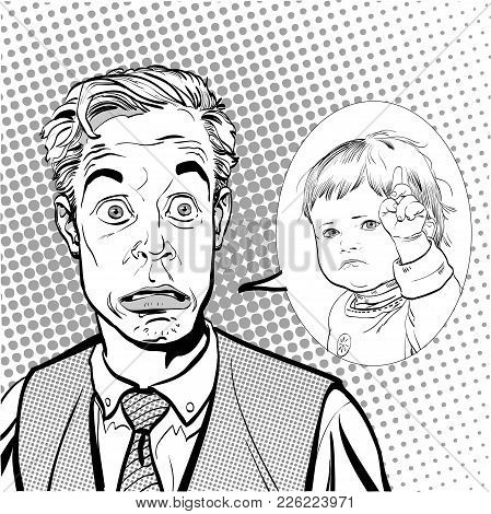 Surprised Man. Man And Child. Man And Strict Child. Surprised Man And Child. Concept Idea Of Adverti