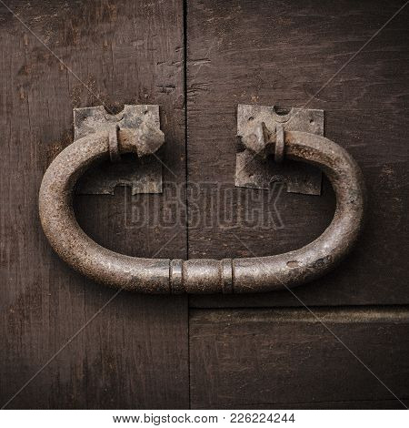 Large Rustic Door Knocker, Vintage Metal On An Old Wooden Door.  Large, Antique And Strong, Makes Yo