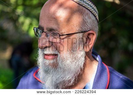 Portrait Of Senior Religious Jewish Man
