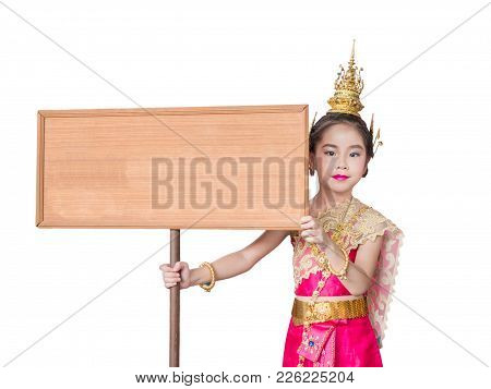 Asian Little Kid Girl Dress The Thai Traditional Dress , National Costumes, Hold A Signboard , White