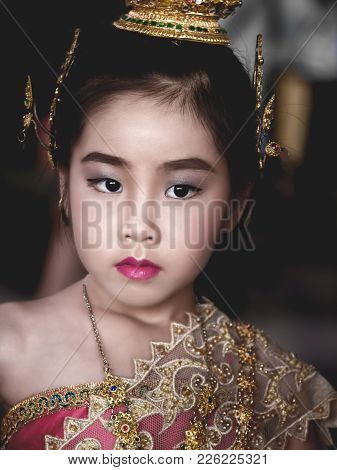 Asian Little Kid Girl Dress The Thai Traditional Dress , National Costumes, Close Up Shot
