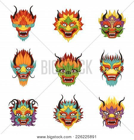 Chinese Dragon Heads Set, Chinese New Year Symbol Vector Illustrations On A White Background