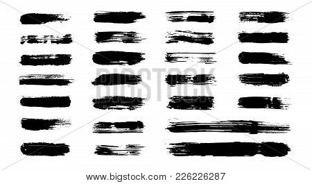 Grunge Paint Stripes, Vector Brush Strokes. Grungy Banner, Texture, Box, Frame Set. Isolated Dirty P