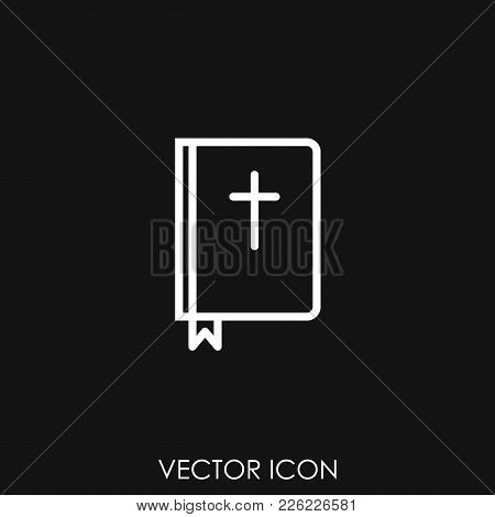 Bible Holy Book With Cross Icon, Vector Icon Illustration, Icon Image