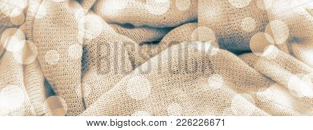 Banner Background Texture Of Knitted Canvas. Material For Needlework Top View