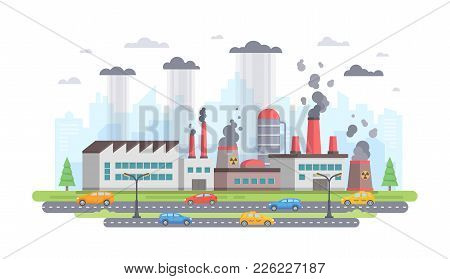 Air Pollution - Modern Flat Design Style Vector Illustration On White Background. A Composition With
