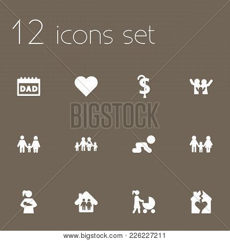Set Of 12 Family Icons Set. Collection Of Happy, Motherhood, Family And Other Elements.