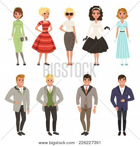 Young Men And Women Wearing Vintage Clothing Set, Retro Fashion People From 50s And 60s Vector Illus