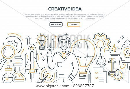 Creative Idea - Modern Line Design Style Illustration On White Background. Banner With Heading, Plac