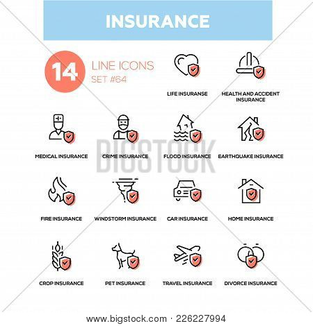 Insurance Concept - Line Design Icons Set. Life, Health And Accident, Medical, Crime, Flood, Earthqu