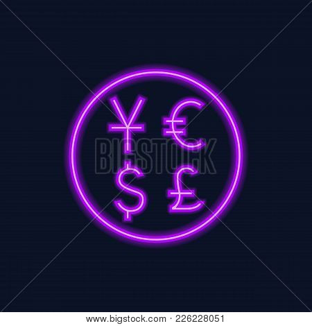 Neon Icon Of Currency Symbols In Circle On Black Background. Currency Exchange, Bank, Currency Rate.