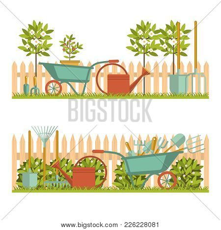 Concept Of Gardening. Garden Tools. Banner With Summer Garden Landscape. Flat Style, Vector Illustra